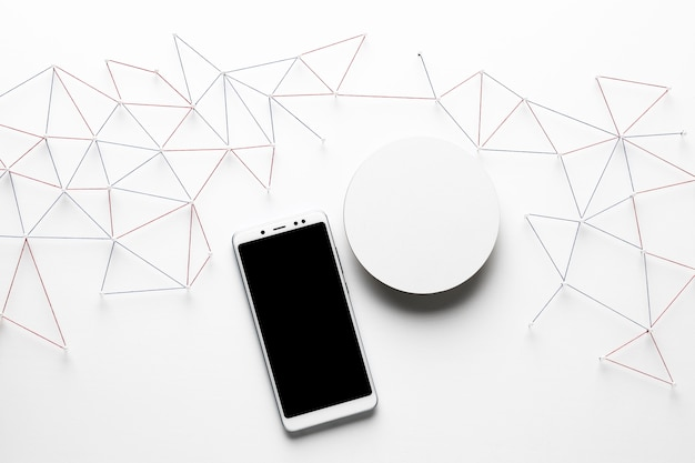 Top view of internet communication network with smartphone