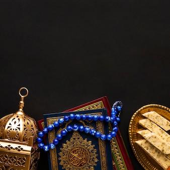 Вид сверху исламская концепция нового года с копией пространства