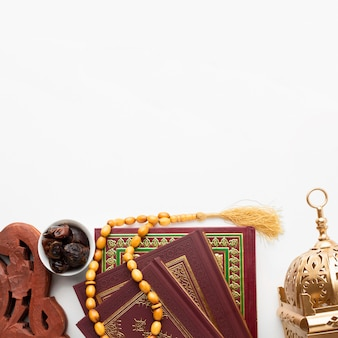 トップビューイスラム新年コンセプトコピースペース