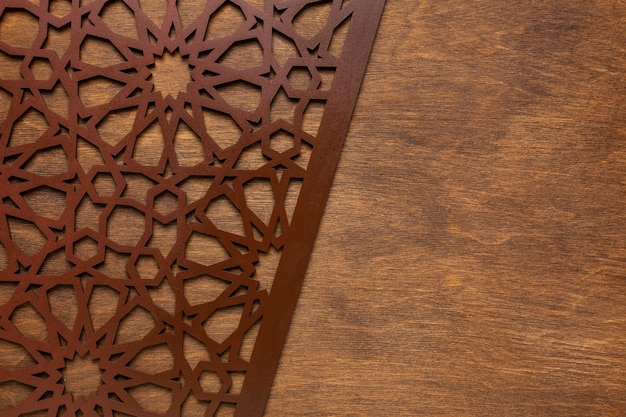 Top view on islamic new year decorative objects  made of wood