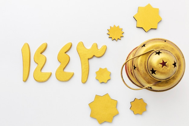 Top view on islamic new year decorative stars with lamp