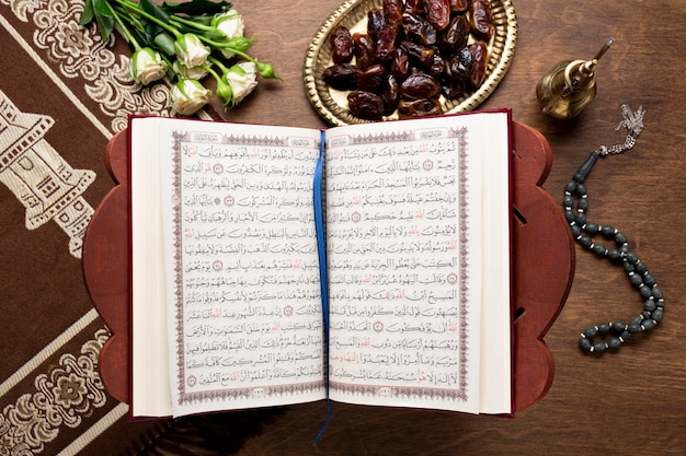Top view islamic new year open quran