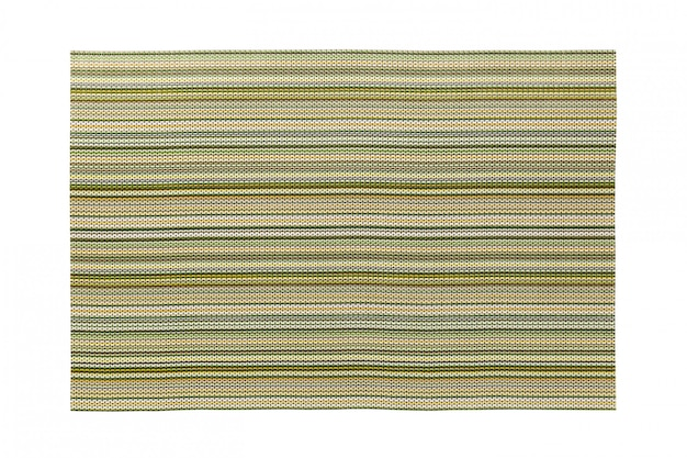 Top view of isolated green striped placemat for food.