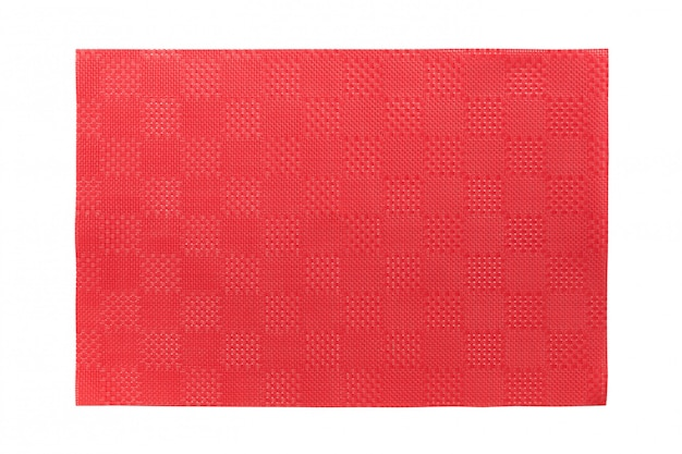 Top view of isolated red placemat for food.