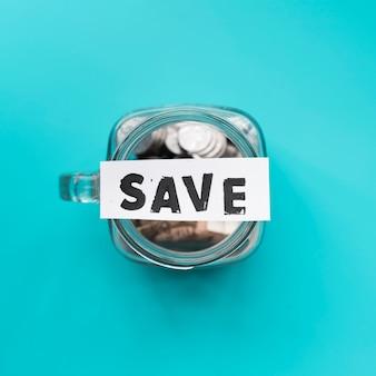 Top view jar for savings