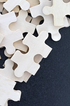 Top view of jigsaw puzzle pieces