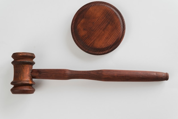 Top view judge's gavel