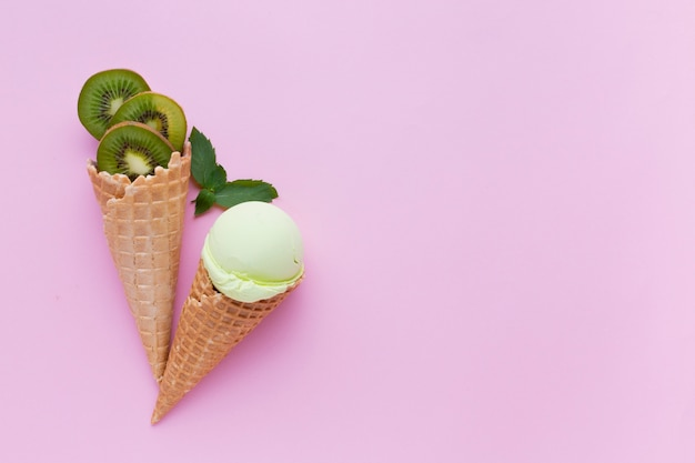 Top view of kiwi flavored ice cream