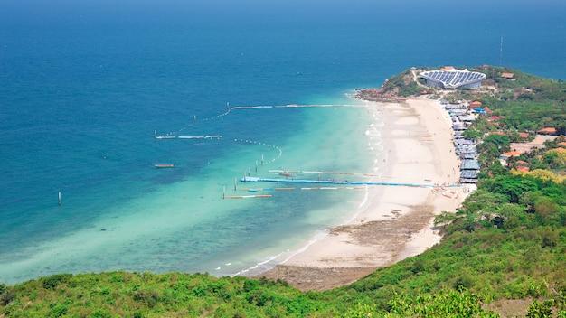 Top view of koh larn island samae beach in pattaya, chonburi thailand.