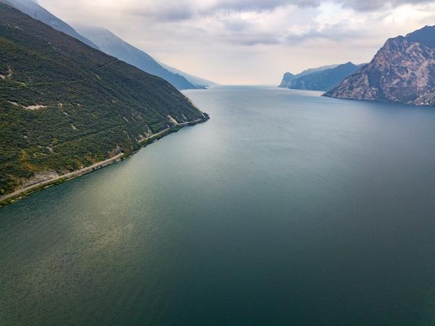 Top view of lake lago di garda b alpine scenery. italy.