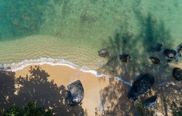 Top view landscape of beautiful tropical sea in summer season image by aerial view drone shot