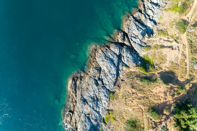 Top view landscape of beautiful tropical sea with sea coast view in summer season