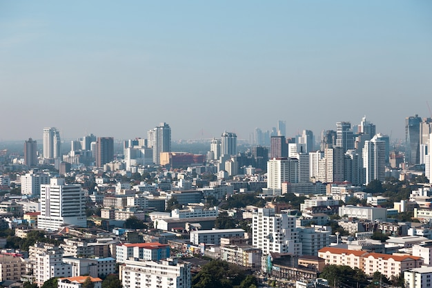Top view of landscape with cityscape view on building, landscape city in urban life of bangkok thailand background