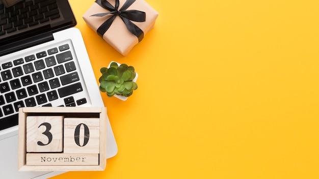 Top view laptop and calendar