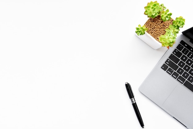 Top view of laptop,succulent and pen on white background with copy space