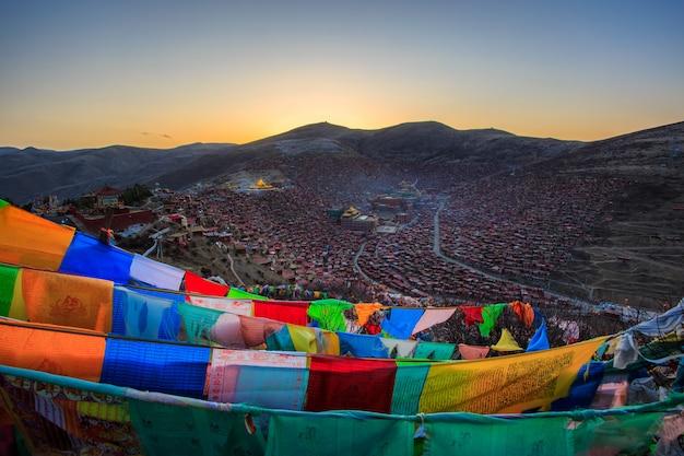 Top view at larung gar (buddhist academy) in sichuan, china