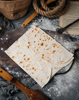 A top view lavash slices baked and tasty