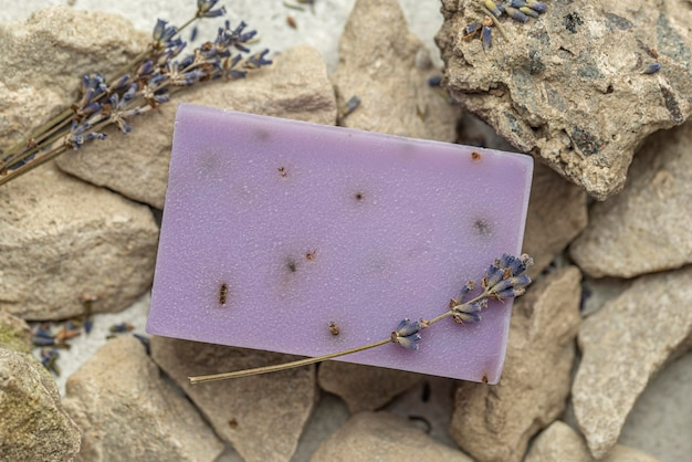 Top view lavender soap on rocks