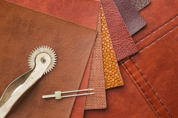 Top view of leather with needle