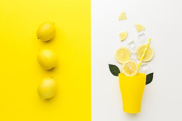 Top view of lemon and lemonade concept