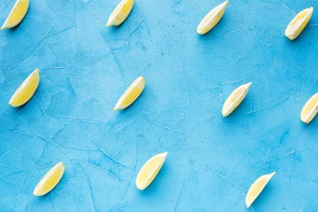 Top view of lemon slices arrangement