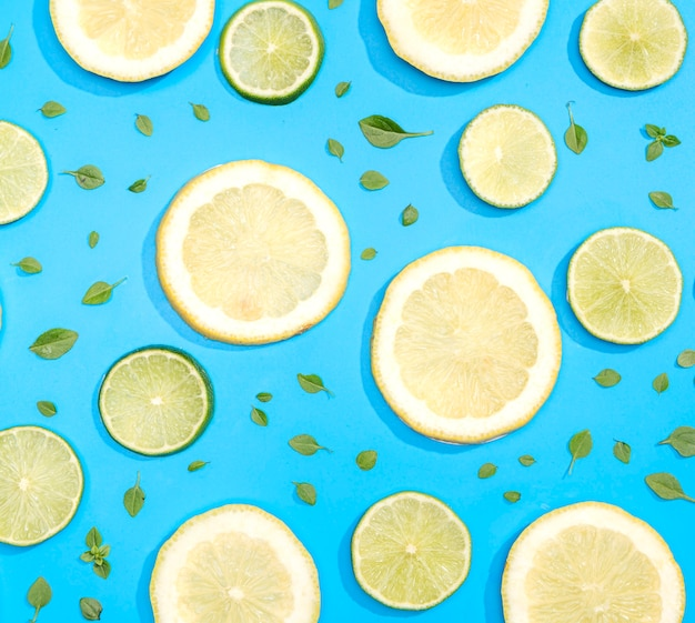 Top view lemon slices and lime