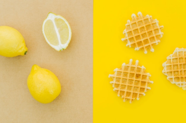 Top view lemon vs waffles