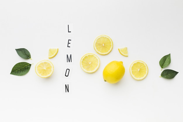 Top view of lemon with leaves concept