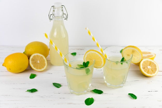 Top view lemonade glasses arrangement