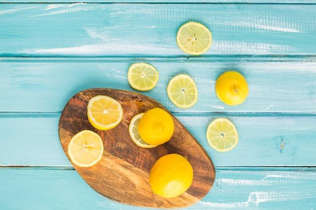 Top view lemons on board
