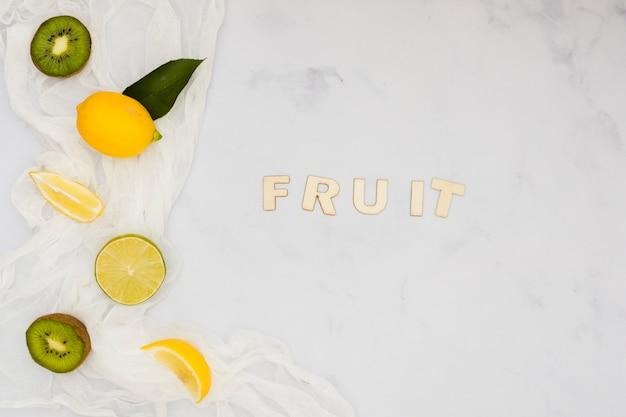 Top view lemons and kiwis with word