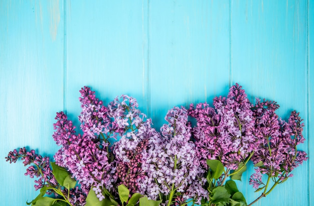 Top view of lilac flowers isolated on blue wooden background with copy space