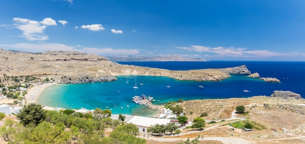 Top view of lindos bay and the beach