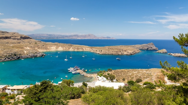 Top view of lindos bay