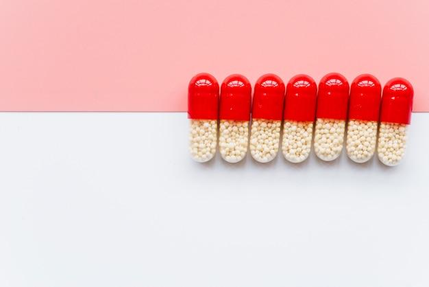 Top view line of pills