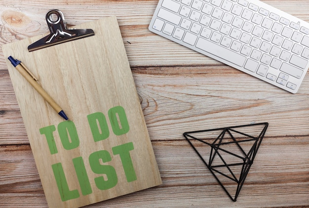Top view to do list clipboard