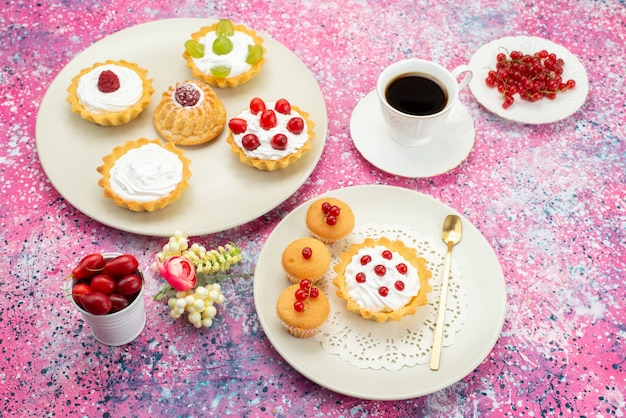 Top view little cakes with cream fresh fruits and along with cup of coffee inside white plate on the bright desk