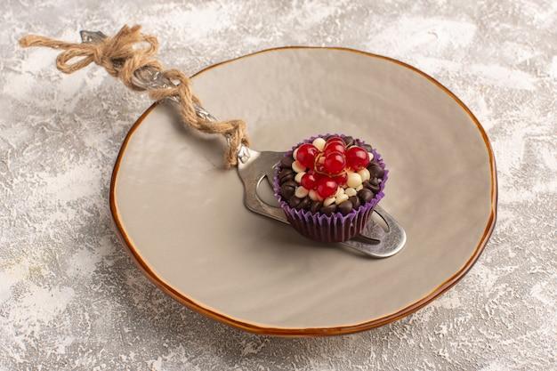 Вид сверху маленькое шоколадное пирожное с клюквой на ярком фоне, торт, бисквит, сладкая выпечка