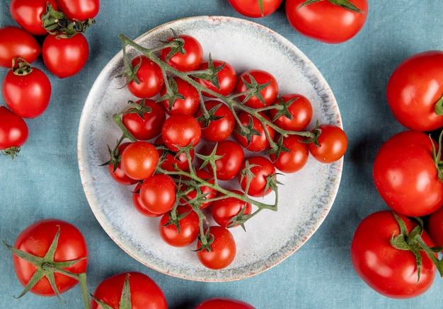 Vista dall'alto di pomodorini in lamiera con altri sul blu