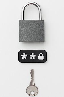 Top view of lock with key and password