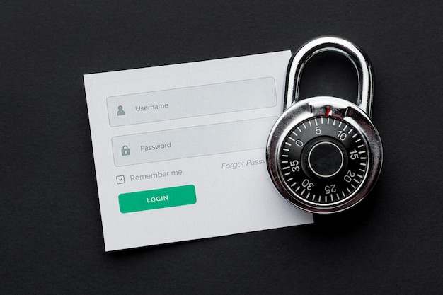 Top view of lock with username and password information