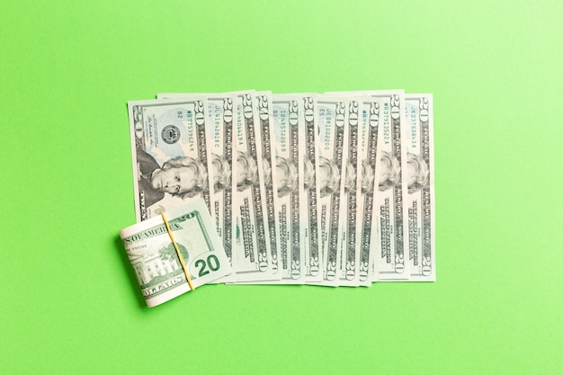 Top view of lying 20 dollar banknotes in one line. close up of money saving concept