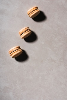Top view macarons row with copy-space