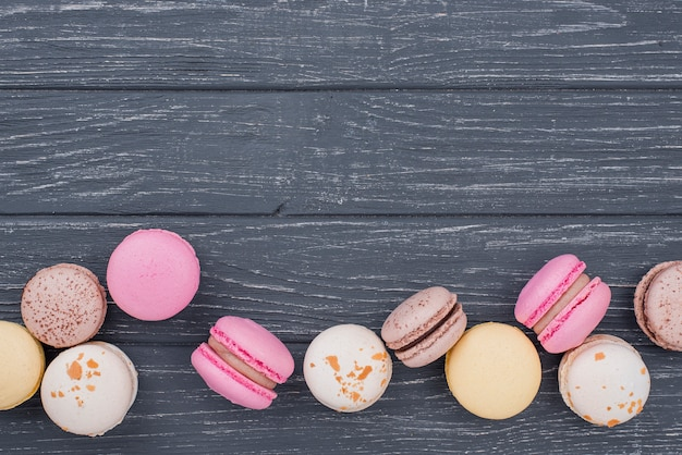 Top view of macarons with copy space