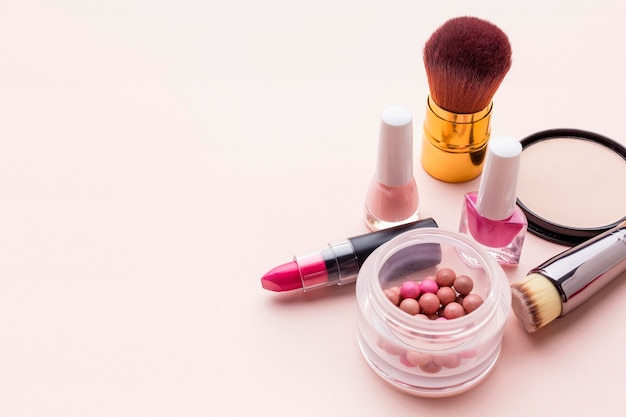 Top view make-up accessories with copy space