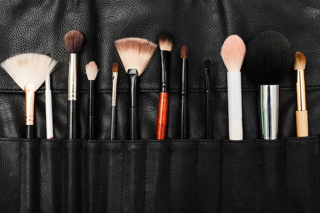 Top view make up brush case