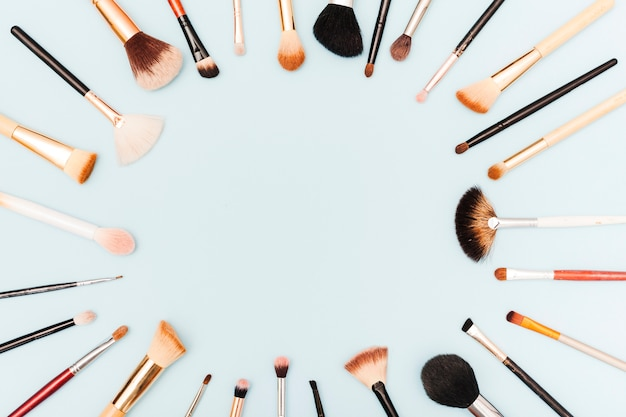 Top view make up brushes frame