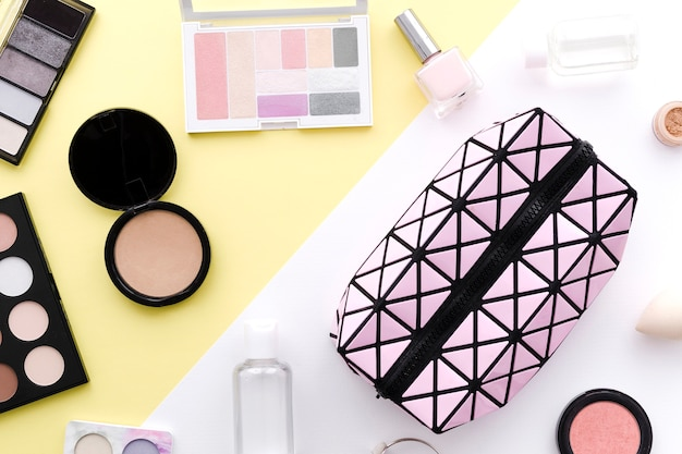Top view make up with toilet bag