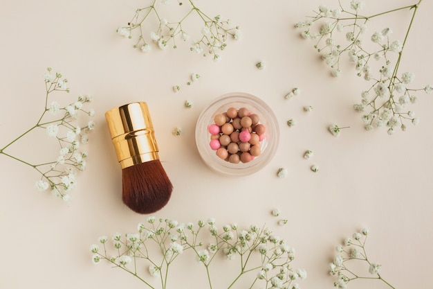 Top view makeup products on table