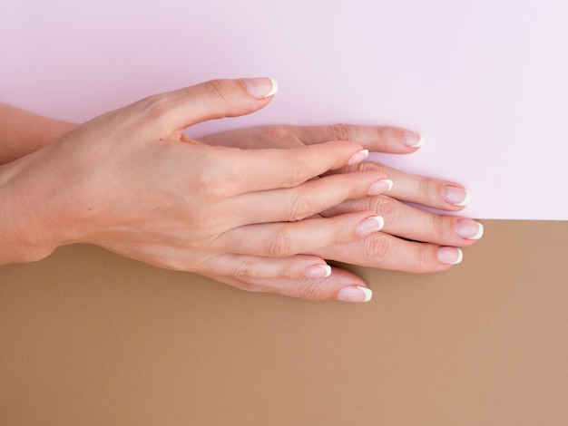Vista dall'alto di mani di donna curate